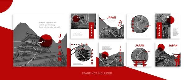 Collection de modèles de publication de médias sociaux de voyage au japon
