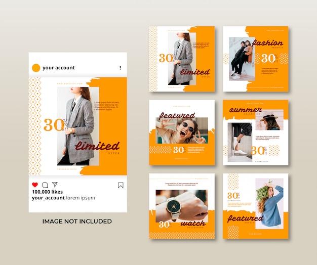 Collection de modèles de publication de mode de médias sociaux de brosse minimaliste