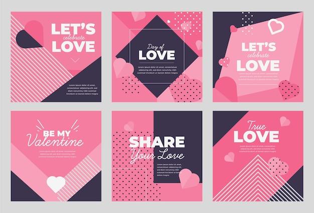 Collection de modèles de publication de vente de la saint-valentin