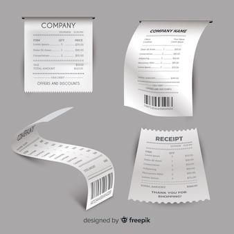 Collection de modèles de reçus avec un design réaliste