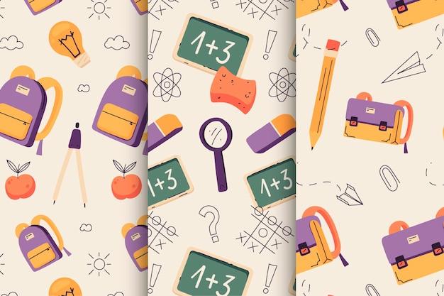 Collection de modèles de retour à l'école dessinée à la main