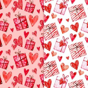 Collection de modèles de saint valentin aquarelle