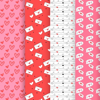 Collection de modèles de la saint-valentin au design plat
