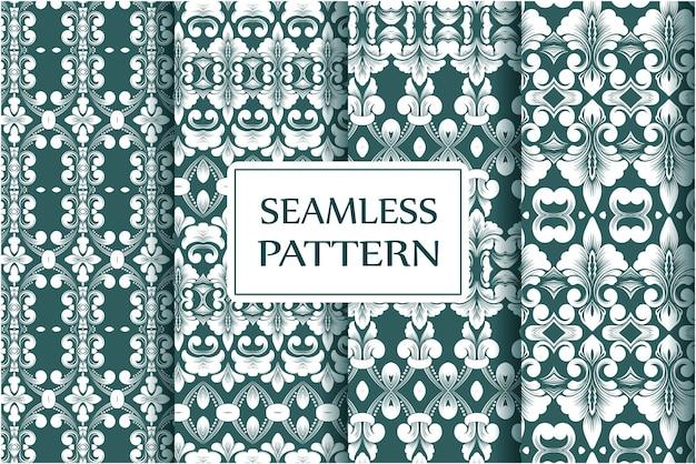 Collection de modèles sans couture premium pour papiers peints textile enveloppant un modèle baroque floral exquis