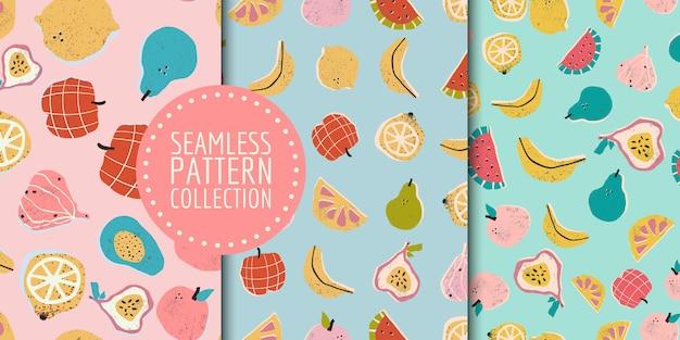 Collection de modèles sans soudure de fruits dessinés à la main colorés