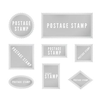 Collection de modèles de timbres postaux gris avec ombre