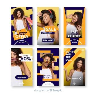 Collection de modèles de vente d'histoires instagram