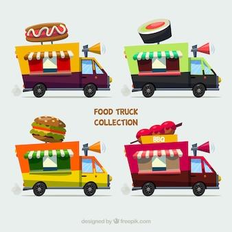 Collection moderne de camions de nourriture avec de la nourriture traditionnelle