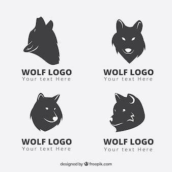 Collection moderne logo logo de loup noir