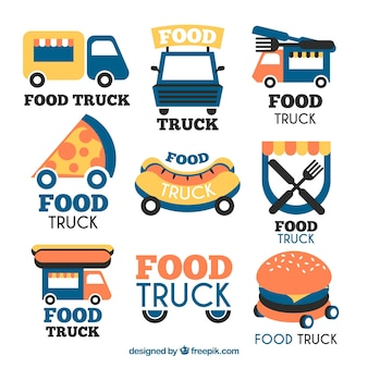 Collection moderne de logos de camions alimentaires amusants