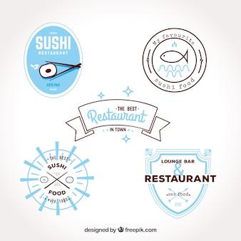 Collection moderne de logos de restaurants plats