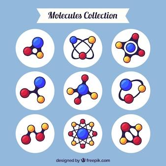 Collection de molécules plates avec un style coloré