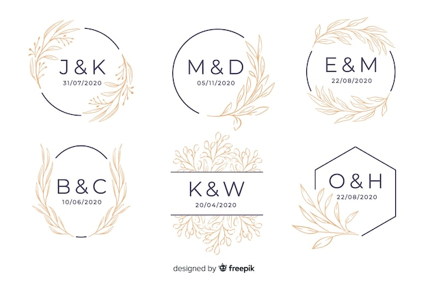 Collection de monogram de mariage ornemental