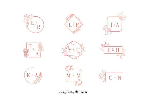 Collection de monogram de mariage ornementale rose