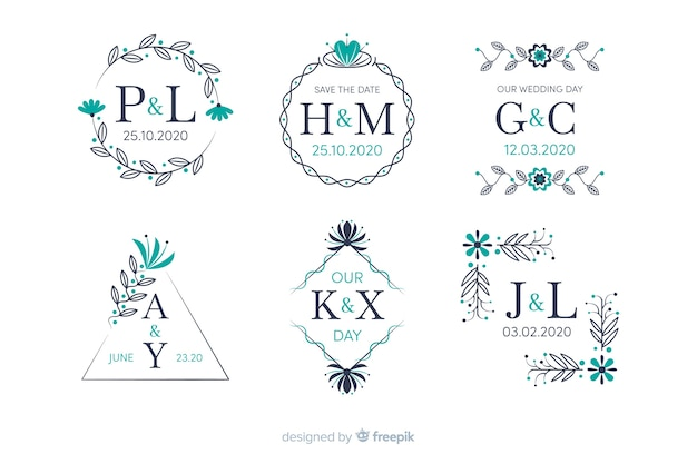 Collection de monogramme de mariage ornemental