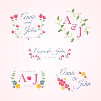 Collection de monogrammes de mariage colorés