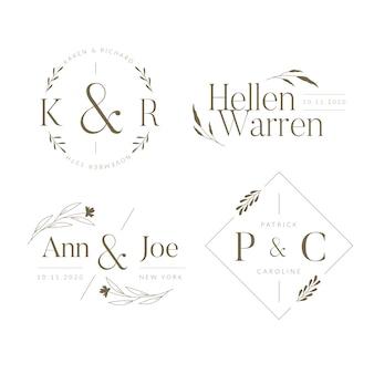 Collection de monogrammes de mariage élégant