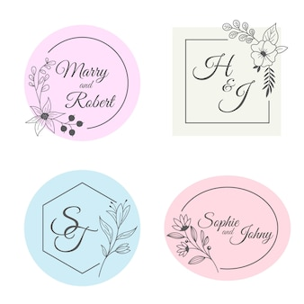 Collection de monogrammes de mariage minimalistes aux couleurs pastel