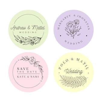 Collection de monogrammes de mariage minimalistes en couleurs pastel