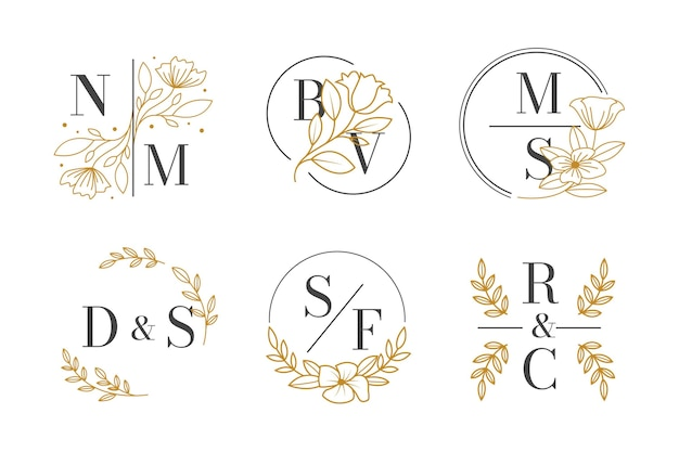 Collection de monogrammes de mariage plat linéaire
