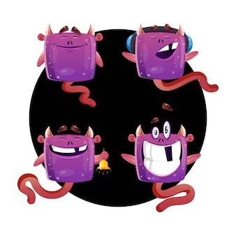 Collection de monstres dans des poses différentes
