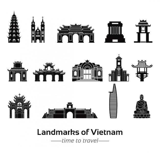 Collection de monuments du bundle vietnam dans la conception de la silhouette