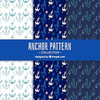 Collection de motif ancre bleue