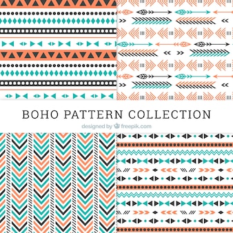 Collection de motif boho avec un design plat