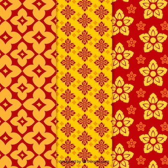 Collection de motif thaïlandais coloré avec un design plat