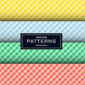 Collection de motif de tissu carré diagonal en quatre couleurs