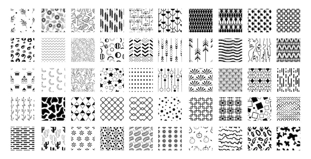 Collection de motifs abstraits en noir et blanc