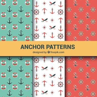 Collection de motifs d'ancre en trois couleurs