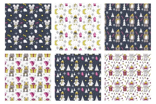 Collection de motifs d'animaux d'hiver