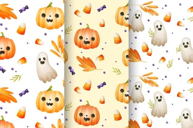 Collection de motifs aquarelle halloween