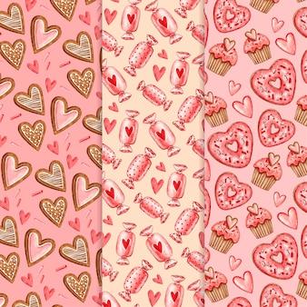 Collection de motifs aquarelle saint valentin