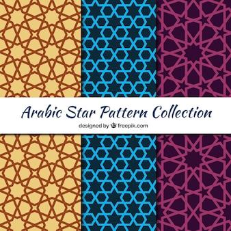 Collection de motifs arabes avec étoiles