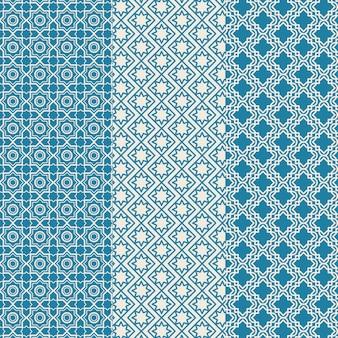 Collection de motifs arabes linéaires design plat