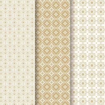 Collection de motifs arabes linéaires plats