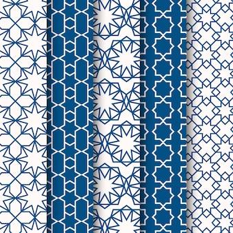 Collection de motifs arabes linéaires