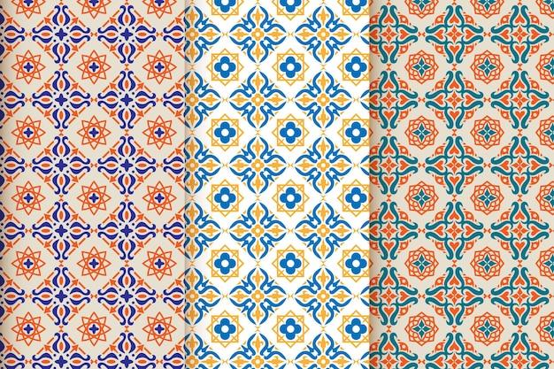 Collection De Motifs Arabes Ornementaux Plats Vecteur gratuit