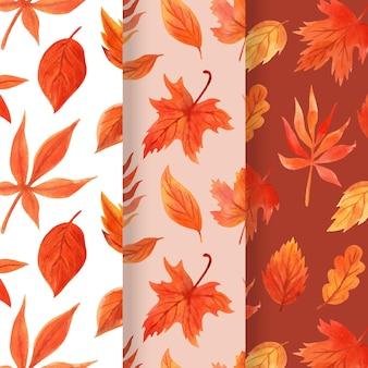 Collection de motifs automne aquarelle