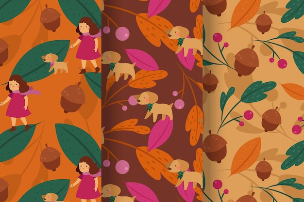 Collection de motifs d'automne au design plat