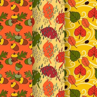 Collection de motifs automne design dessiné à la main