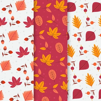 Collection de motifs d'automne design plat
