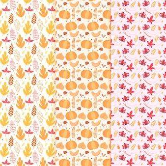 Collection de motifs d'automne design plat