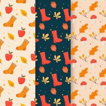 Collection de motifs automne design plat