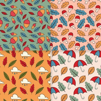 Collection de motifs d'automne dessinés à la main