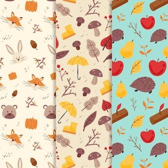 Collection de motifs d'automne dessinés à la main