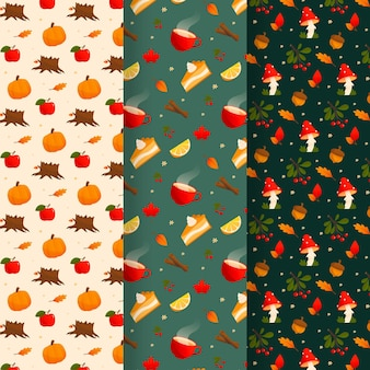 Collection de motifs automne dessinés à la main