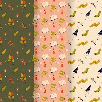Collection de motifs automne dessinés à la main